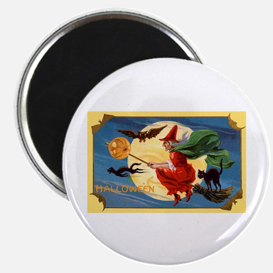 """Halloween Flying Witch 2.25"""" Magnet (10 pack)"""