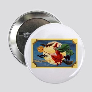 Halloween Flying Witch Button