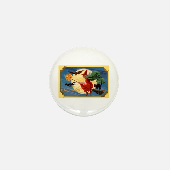 Halloween Flying Witch Mini Button