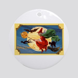 Halloween Flying Witch Ornament (Round)