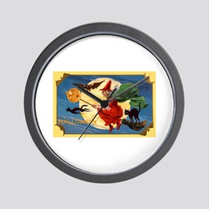 Halloween Flying Witch Wall Clock