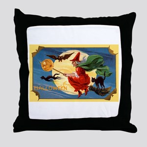 Halloween Flying Witch Throw Pillow