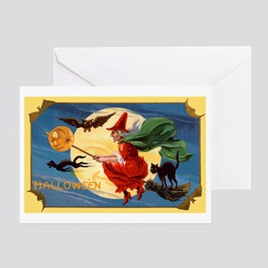 Halloween Flying Witch Greeting Card