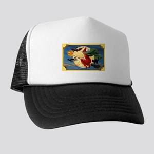 Halloween Flying Witch Trucker Hat