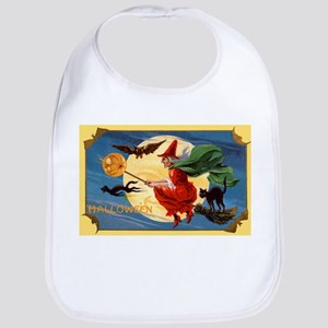 Halloween Flying Witch Bib