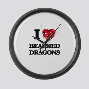 I love Bearded Dragons Large Wall Clock