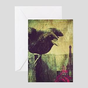 grunge crow paris eiffel tower Greeting Cards