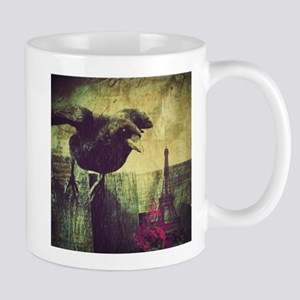 grunge crow paris eiffel tower Mugs