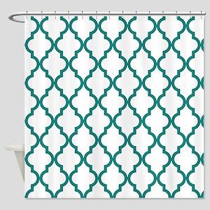 Blue, Teal: Quatrefoil Moroccan Pat Shower Curtain