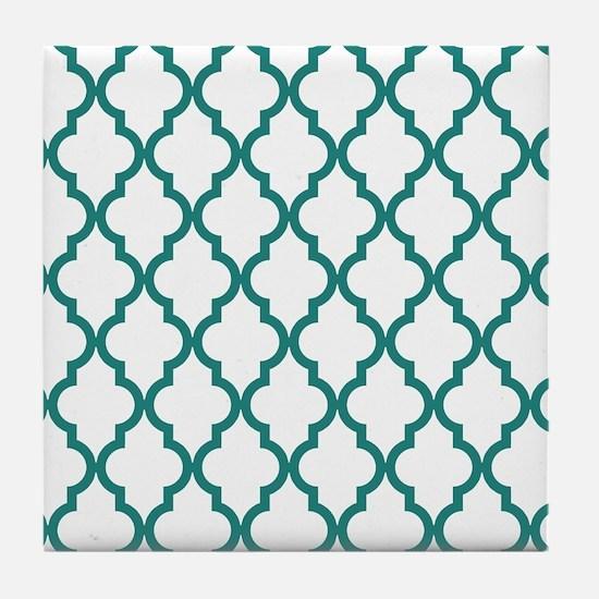 Blue, Teal: Quatrefoil Moroccan Patte Tile Coaster