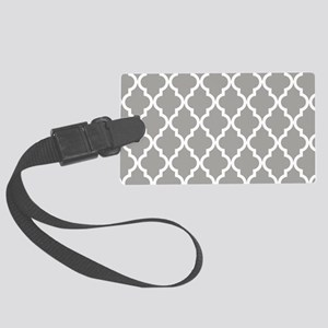 Grey, Fog: Quatrefoil Moroccan P Large Luggage Tag