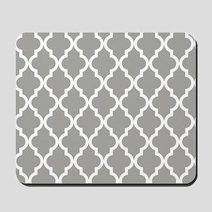 Grey, Fog: Quatrefoil Moroccan Pattern Mousepad