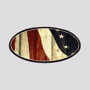 wood grain USA American flag Patch