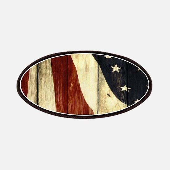 wood grain USA American flag Patch
