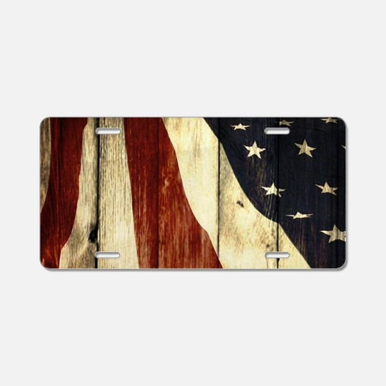 wood grain USA American fla Aluminum License Plate