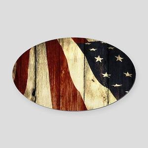 wood grain USA American flag Oval Car Magnet