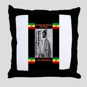 Haile-Selassie-Jah_Rastafari Throw Pillow