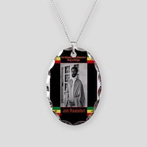 Haile-Selassie-Jah_Rastafari Necklace Oval Charm