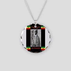 Haile-Selassie-Jah_Rastafari Necklace Circle Charm
