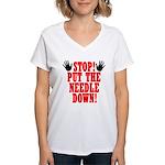 - puttheneedledown10x10x200dpi Women's V-Neck