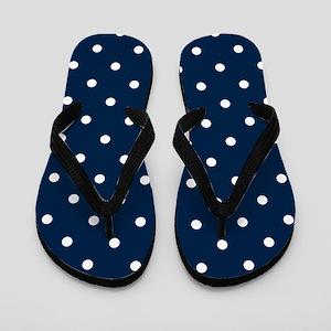 Blue, Navy: Polka Dots Pattern (Small) Flip Flops