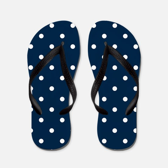 Blue, Navy: Polka Dots Pattern (Small) Flip Flops