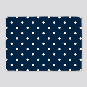 Blue, Navy: Polka Dots Pattern (Sma 5'x7'Area Rug