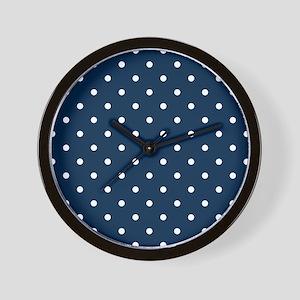 Blue, Navy: Polka Dots Pattern (Small) Wall Clock