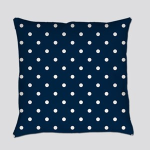 Blue, Navy: Polka Dots Pattern (Sm Everyday Pillow