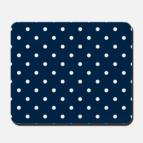 Blue, Navy: Polka Dots Pattern (Small) Mousepad