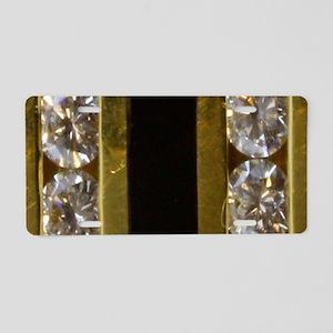 diamond_black_coral_gold_ Aluminum License Plate