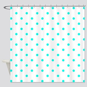 Blue, Turquoise: Polka Dots Pattern Shower Curtain