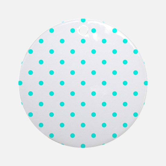 Blue, Turquoise: Polka Dots Pattern Round Ornament
