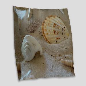 Beautiful Seashells Burlap Throw Pillow
