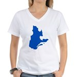 Map with PMS 293 Color Women's V-Neck T-Shirt