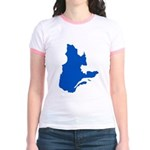 Map with PMS 293 Color Jr. Ringer T-Shirt