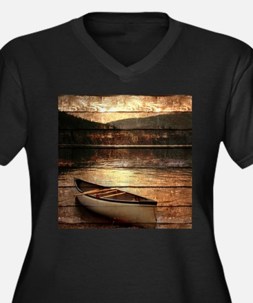 rustic country lake canoe Plus Size T-Shirt