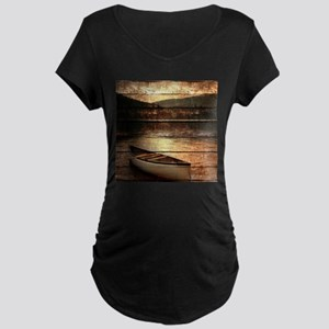 rustic country lake canoe Maternity T-Shirt