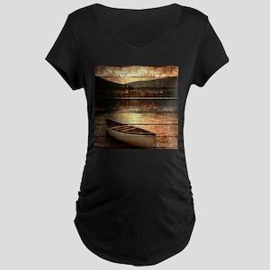 rustic country lake canoe Maternity T-Shirt