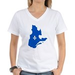 Map with Lys PMS 293 Color Women's V-Neck T-Shirt