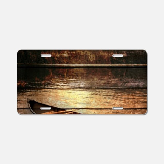 rustic country lake canoe Aluminum License Plate