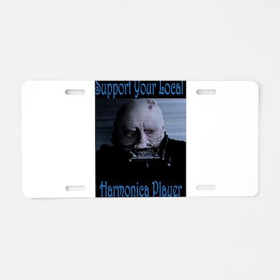 Harmonica Player Aluminum License Plate