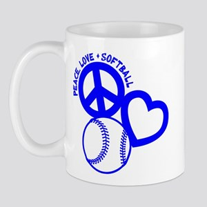 Peace-Love-Softball Mug Mugs