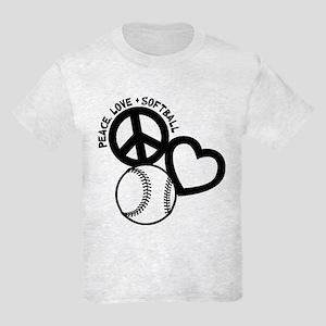 PEACE-LOVE-SOFTBALL Kids Light T-Shirt