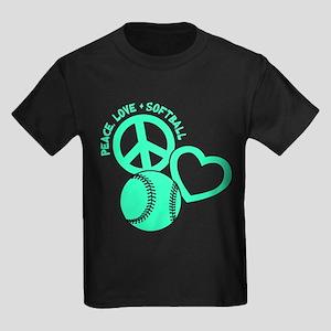 PEACE-LOVE-SOFTBALL Kids Dark T-Shirt