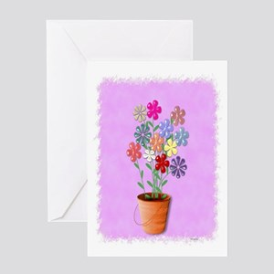 A Bucket Of Flowers Greeting Card