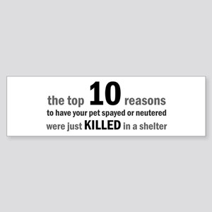 10 Reasons to Spay/Neuter Bumper Sticker