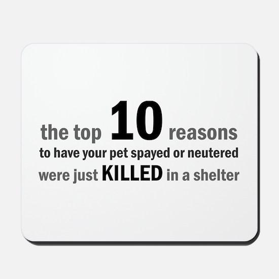 10 Reasons to Spay/Neuter Mousepad