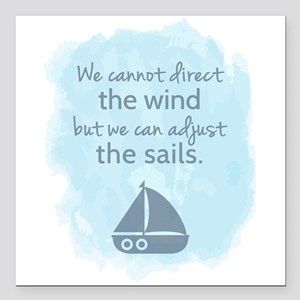 Nautical Sail boat Mentality Quote Square Car Magn