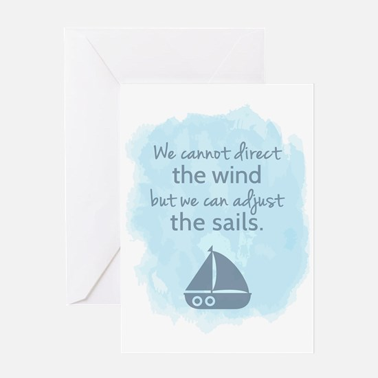 Nautical Sail boat Mentality Quote Greeting Cards